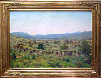 CATTLE DRIVE PAINTING BY DWIGHT C. HOLMES (1947)